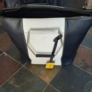 Black and White leather Bebe satchel